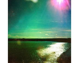 Lake photography, retro photography, fine art print, water art, green wall art, vintage landscape photography, green art, 8x8, 10x10, 12x12