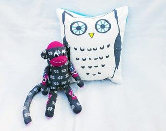 Owl lover gift set, owl cushion, pillow, sock monkey, gift set, owl, owl lover, gift for owl fan, bedroom, girls gift set, woodland animals