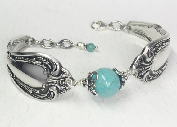 Spoon Bracelet with Turquoise Magnesite, Silverware Jewelry, Chalice 1958