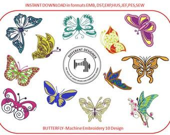 Beauty Butterfly-Machine Embroidery 12 Designs Below 4X4 Inch Hoop