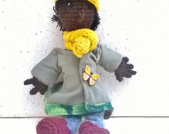 """Miniature Doll """"Lou"""", the Lady in nature and sunny colors"""