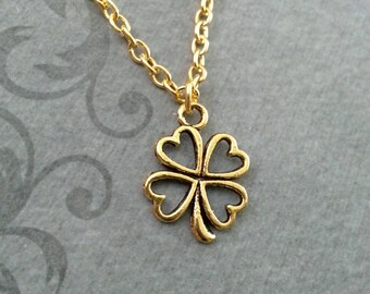 Four Leaf Clover Necklace, SMALL Gold Clover Pendant Necklace, St. Patrick's Day Gift, Lucky Necklace, St. Patrick's Necklace, Irish Jewelry