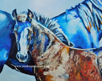 """Original Friesian Horse Colt Oil Painting 18""""x24"""" painted by knife"""