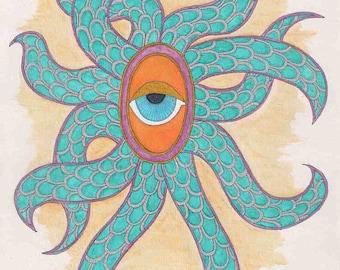 Ausverkauf! Oktopus-Wand-Kunst, Kopffüßer Wandkunst, Aquarell, Oktopus-Kunst, Auge Wandkunst, Tentakel Wandkunst Kopffüßer Tentakel Auge