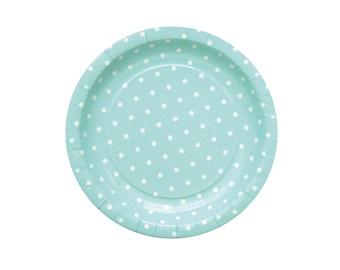10 Green Mint Paper Plates Mint Party Plates Mint Polka Dot Plates Mint Baby Party Plates Green Mint Baby Shower Plates Dinner Paper Plates