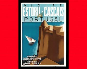 Portugal Travel Print - Portugal Poster Travel Portugal Prints Travel Home Decorating European Poster Estoril Cascais  t