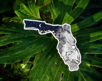"""Florida State  4"""" Weatherproof and durable, Outdoor sticker, Travel sticker, Wanderlust, Ocean, Waves, Tropical Moon and stars sticker"""