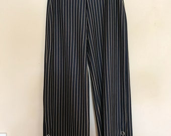 Navy & Beige Striped Culotte Flared Pants