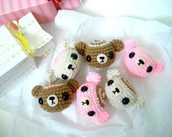 Three Sweet Amigurumi Plush Bear Bonbon Crochet Candies