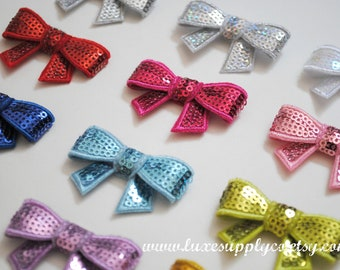 Sequin Bow Appliques - Your choice of 17 colors - You Choose the Quantity - Wholesale Discounts - DIY Hair Accessories, Crafting Supplies