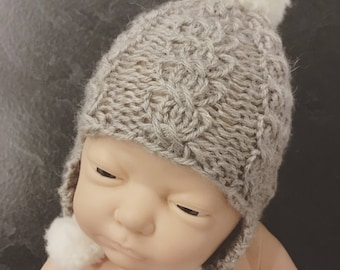 Newborn size knit cable stitch ear flap beanie hat with pompoms,photo prop,gift idea,coming home,alpaca,ready to ship