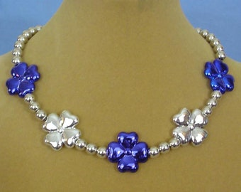 "16"" Cobalt Blue and Silver Metallic Flower Necklace - N617"