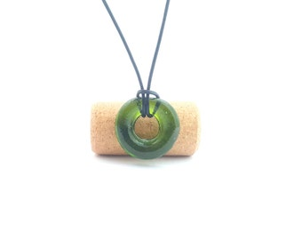 Recycled wine bottle loop pendant in green glass/Kiln-fused necklace handmade from upcycled wine bottle glass