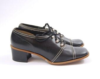 60s Black Granny Heels // Size 5 1/2  // 60s Granny Shoes // Pilgrim Shoes - Unworn Square Toe chunky Heel Deadstock
