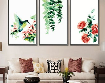 Set of 3 Paint by number kit/ Flower Painting/ Bird Painting/ Flower Art/ Abstract Flower Painting/ Living room Decor/ Gift for her