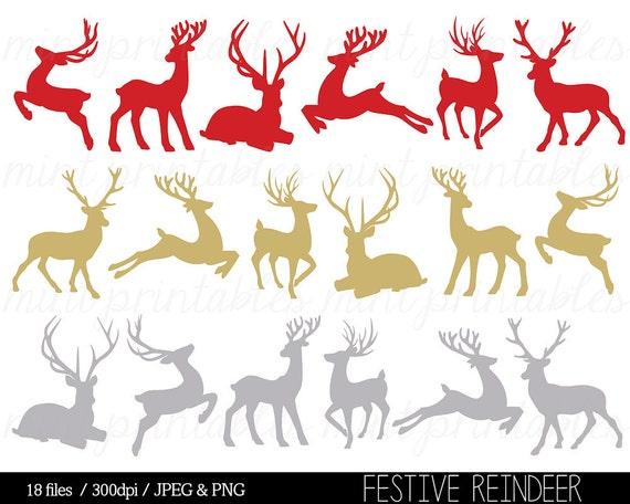 christmas clipart christmas clip art reindeer clipart reindeer silhouette clip art red gold commercial personal buy 2 get 1 free - Christmas Reindeer 2