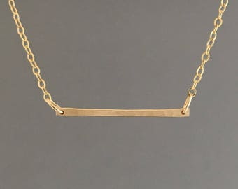 Gold Fill Skinny Hammered Bar Necklace also in Rose Gold Fill & Sterling Silver