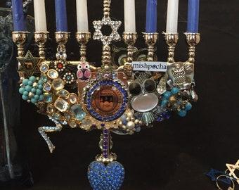 Ode to 'Deis Jeweled Menorah Vintage Bling Hanukkiah Jewelry Brandeis Chanukah Judaica Ollie the Owl Judges kvell yiddish Louie chai