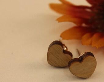 Baltic birch wooden heart earrings