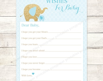 well wishes for baby shower printable elephants blue gold glitter DIY baby boy shower games - INSTANT DOWNLOAD