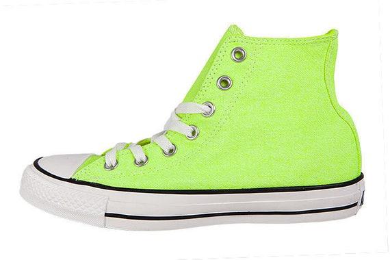 Neon Yellow Converse High Top Canvas shoe Custom Jewel Bling w/ Swarovski Crystal Rhinestone Chuck Taylor All Star Trainers Shoes