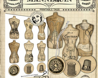 Printable Mannequin Gift Tags Cliparts French Vintage Dress Form Hang Tag Collage Sheet  Scrapbooking Paper Crafts Printable Download e16