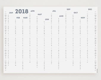 WHITE OUT (Smokey Blue) 2018 Wall Planner