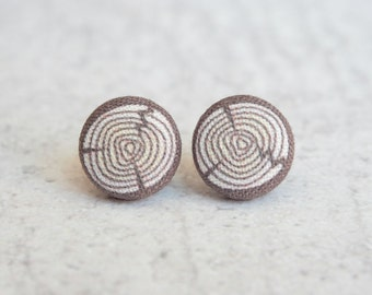 Log, Fabric Covered Button Earrings