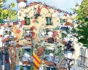 Casa Batlló Senyera Watercolor PRINT / Antoni Gaudí. Eixample, Barcelona / drawing Barcelona REF 040