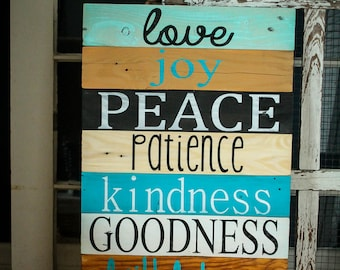 Fruit of the Spirit Reclaimed Wood Sign
