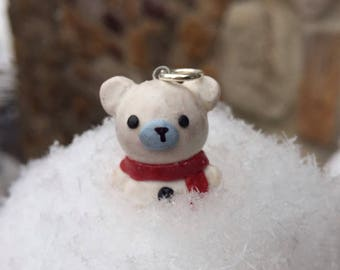 Kawaii polar bear weaing a red scarf necklace charm
