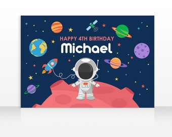 DIGITAL FILE Backdrop Poster: Space Birthday Party Printable Banner Backdrop 60x40 inches PDF, Outer Space Backdrop Theme, Astronaut Banner