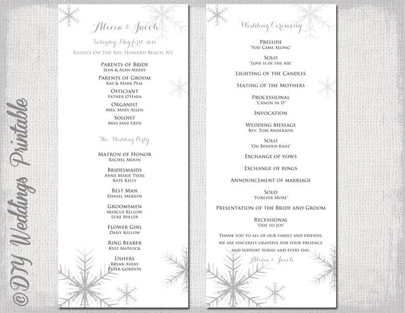 Winter Wedding Program Template Snowflake Wedding