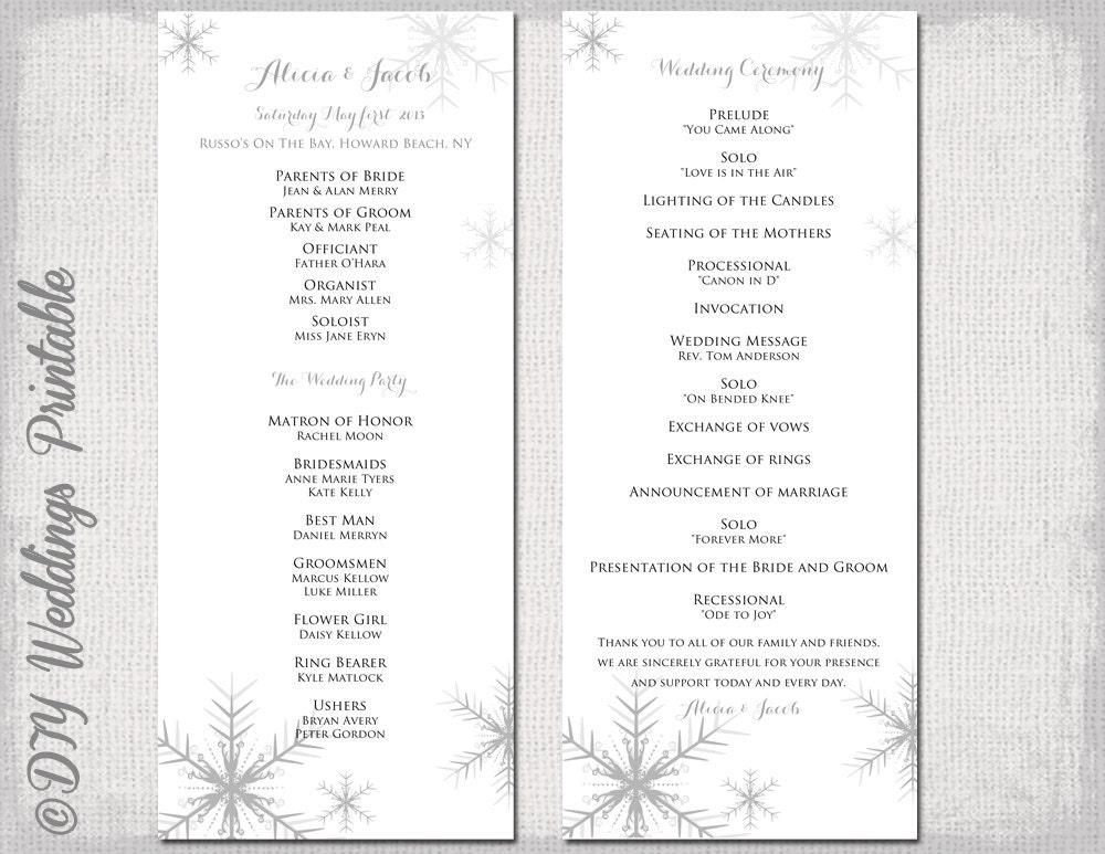 Winter wedding program template Snowflake wedding