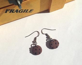 Chocolate cookies earrings