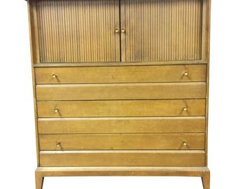 Mid Century Modern HEYWOOD WAKEFIELD DRESSER Chest Of Drawers Vintage Brass  Tambour Doors 50s Blonde Era Tall Bureau