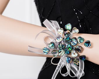 Limited Edition Heart Shell Corsage - Rainbow / Green / Blue Wrist Corsage