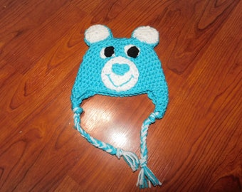 Crochet Care Bear hat - Size 0 - 3 months