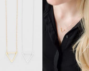 Gold Filled Triangle Necklace, Tiny Gold Geometric Necklace, Silver Triangle Necklace, Gold Dainty Necklace, Modern Minimalist Necklace