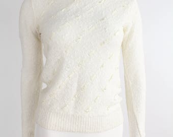 Vintage 1980s Shenanigans Sweater | Nubby Knit Sweater | Crewneck Pullover Top with Pearls and Ribbons | xs