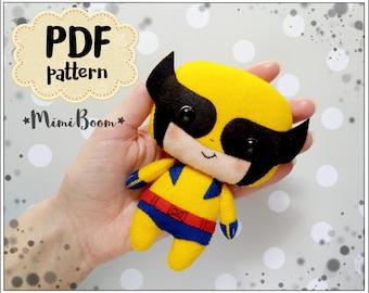 Cute Wolverine pattern felt Wolverine PDF pattern Marvel inspired Superhero pattern felt kawaii Wolverine doll pattern Wolverine sewing PDF