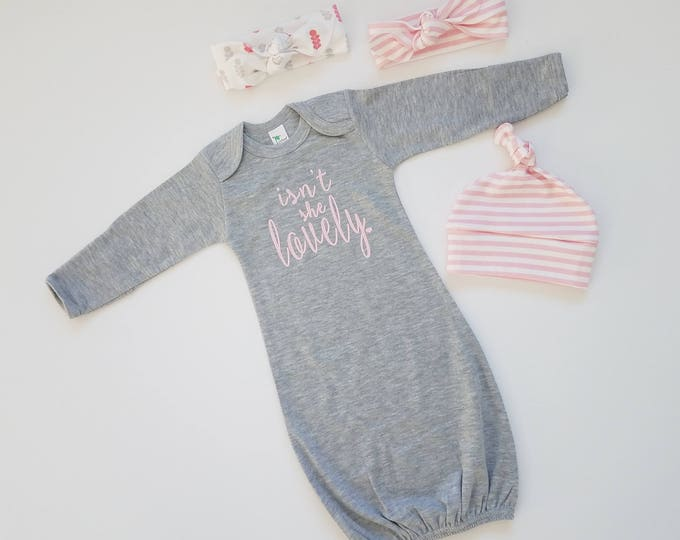 Featured listing image: Baby Girl Coming Home Outfit. Newborn Girl Gift Set. Baby Girl First Outfit. Newborn Girl Shower Gift. Isn't She Lovely. Sip and See.
