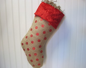 Red Polka dot burlap stocking with red cuff