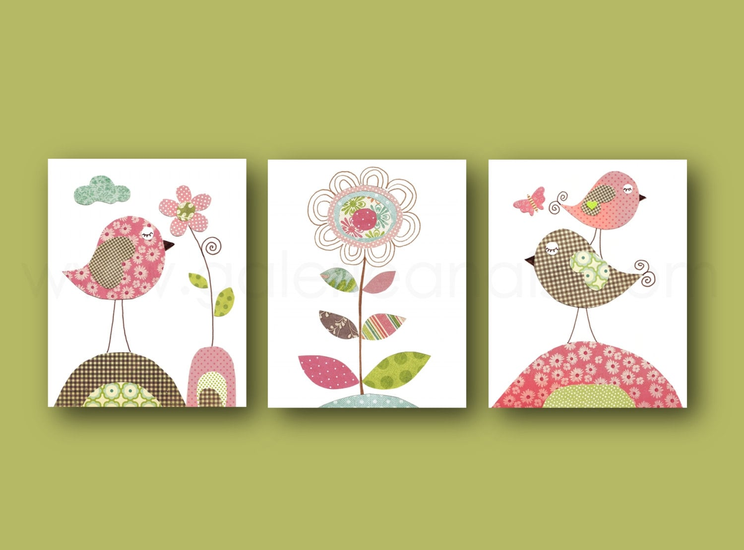 Birds Nursery art baby nursery decor flower nursery wall art
