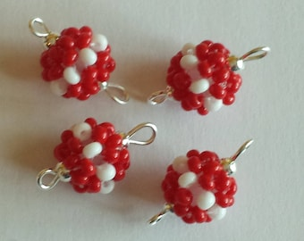4 beads seed connectors (2.5 mm) red/white