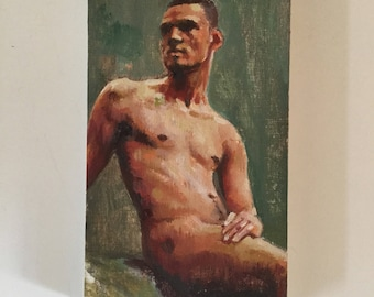 The naturist - a small oil study sold framed 127x77mm