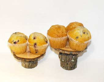 """12 Rustic Tree Branch Cupcake stands mixed heights ~ 4- 5"""" tops ~  Baby showers ~ Reunions ~ Rustic holiday decor ~ Bar Mitzvah - Weddings"""