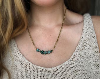 Turquoise bar necklace, Raw Turquoise necklace, Bohemian turquoise gold necklace, Natural African Turquoise necklace, Boho jewelry