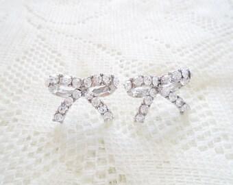 Silver & Crystal Bow Stud earring, Bow stud earring