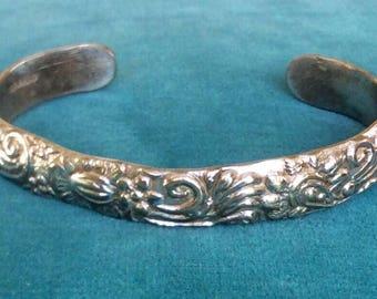 Vintage Sterling Silver Engraved Stamped Taxco Sterling Silver 925 Cuff Bracelet